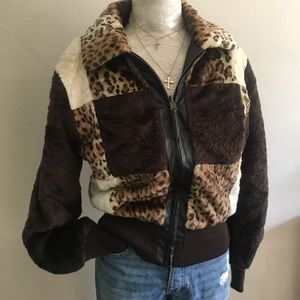 Jackets & Blazers - Leopard print color block faux fur bomber jacket